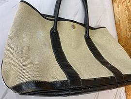 エルメスガーデンパーティーバッグの黄ばみ修理事例ビフォー
