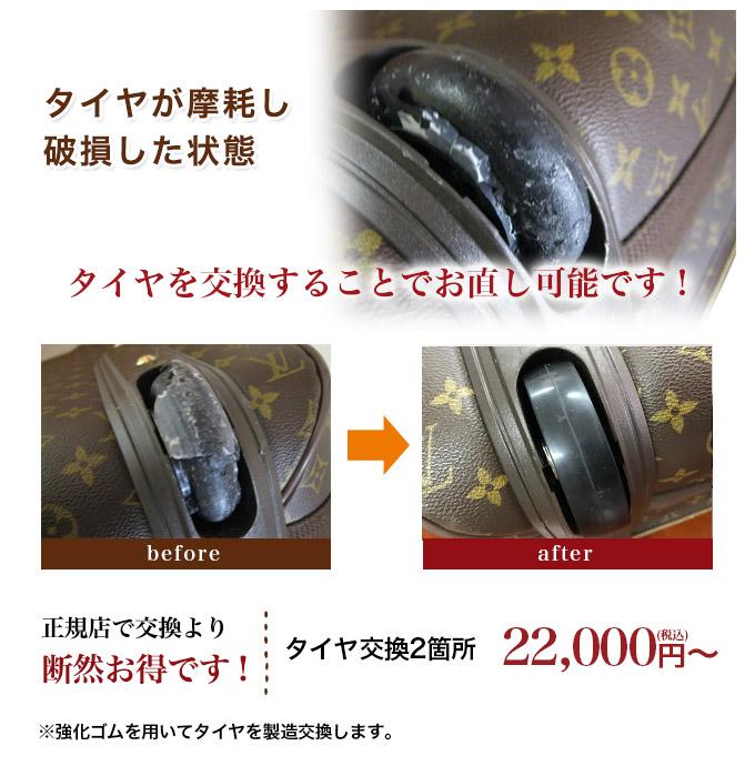 キャリーバッグのタイヤ交換修理
