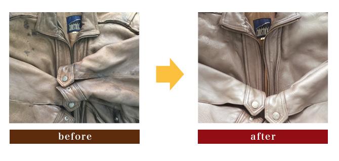 革ジャンの修理ビフォーアフター